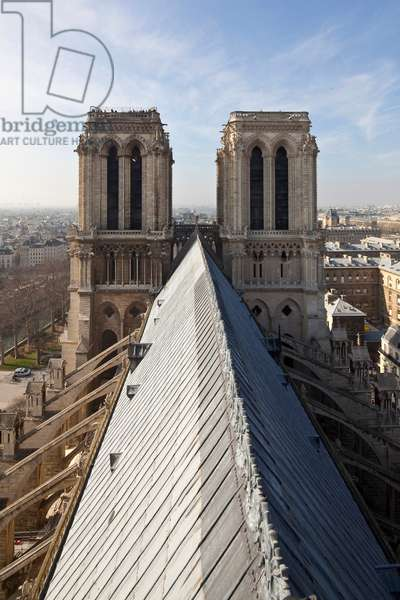 The towers of the cathedral facade Notre Dame de Paris