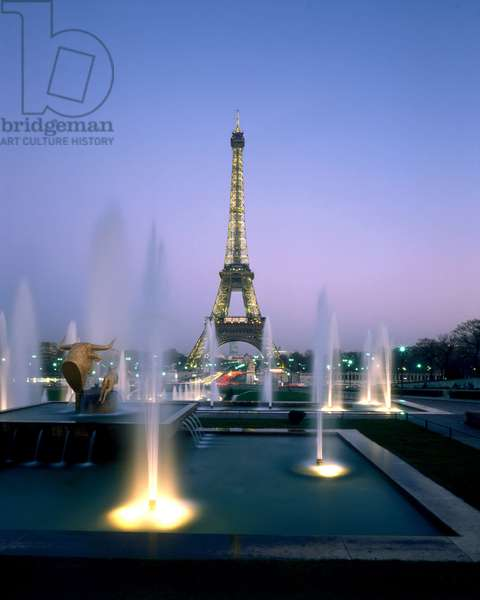 The Eiffel Tower and the Trocadero Gardens in Paris, 75007.
