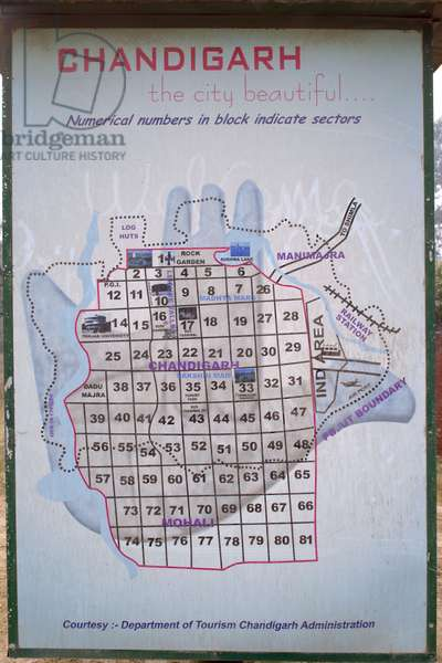 Map of Chandigarh in India. Photograph 22/01/06.