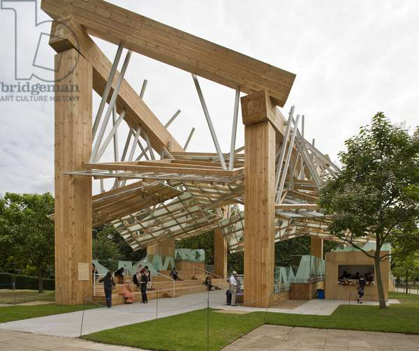 The Serpentine Gallery Pavilion by Samuel and Frank Gehry, 2008, in Kensington Gardens, London, England. This pavilion is Frank Gerhy's first realisation in Britain and is also the first project signed with his son Samuel Gehry
