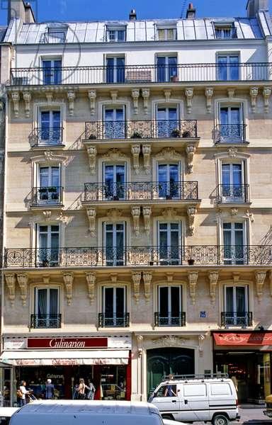 Facade of a Haussmann building, Rue de Rennes Paris 6th arrondissement.