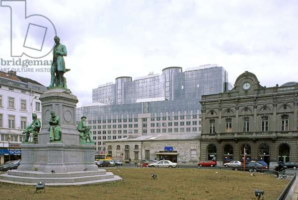 Gare Leopold II and Place du Luxembourg in Brussels (Belgium). Architect Tilman Francois Suys (1783-1861), construction 1838.