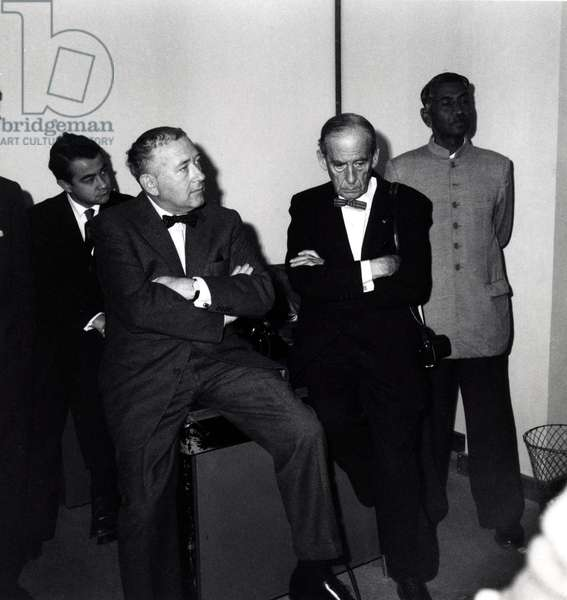 Portrait of Walter Gropius with Marcel Breuer at the inauguration of Unesco in 1957.
