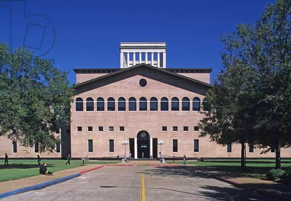 College of Architecture, University of ÆHouston, United States. Architects Philip Johnson and John Burgee, Construction 1985. The Pritzker Prize was created in 1979 by Jay A. Pritzker and his wife. Decerne by the Hyat Foundation and endowed $100,000, it was awarded for the first year to American architect Philip Johnson.