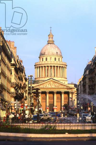 Le Pantheon (1757-1790), Paris 5e. In 1744 Louis XV, suffering from a serious illness in Metz, would wish to erect an immense church instead of the abbey of Sainte Genevieve, which was then in ruins. When the war came, he kept his word and assigned the architect Jacques Germain Soufflot the task of drawing up the plans of the monument. A great admirer of Greek Roman architecture, he imagined a gigantic building, built on a plan of Greek cross 110 metres long, 84 metres wide and 83 metres high. At the time, the project seemed so insane that many, in the court and in the salons of the capital, would question Soufflot's abilities and prevent the collapse of the monument. Louis XV confirmed his confidence in the architect and laid the foundation stone in 1764 during a grand ceremony. In 1806, the Pantheon, like all the churches in France closed during the revolution, was restored to its original name of Sainte Genevieve church. Renamed Pantheon in 1830, the building regained its vocation as a laique and patriotic temple. Headquarters to the insurgents of the Commune in 1871, during which Milliere was shot on the steps, the building was definitively transformed into a Republican monument in 1885, during the funeral of Victor Hugo.