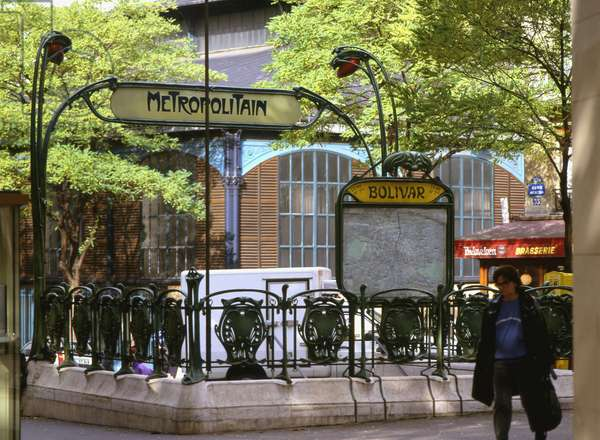 The secretan march, 46 rue de Meaux, Paris 19th. Realisation 1868, architect Victor Balzard (1805-1874) and the Bolivar metro station made by Hector Guimard (1867-1942). The march is Victor Balzard's last ever visible realization. As for metro stations, only 90 mouths without roofs still exist out of the one hundred and forty installed between 1919 and 1913.