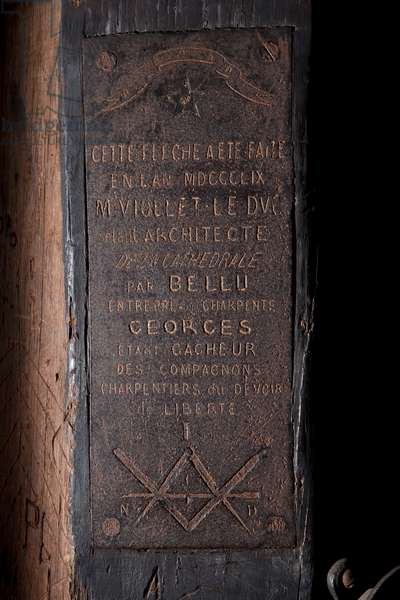 Signature of the carpenters companions of the nave of the Cathedrale Notre-Dame de Paris