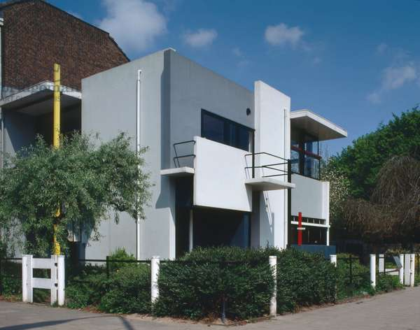 Maison Schroder Schrader in Utrecht in the Netherlands. Realisation 1924, architect Gerrit Thomas Rietveld (1888-1964). This small family home, with its interior, its flexible spatial organization and its visual and formal qualities, is a manifesto of the ideals of Dutch artists and architects belonging to the De Stijl group during the 1920s. It is now recognized as one of the icons of the modern movement in architecture.