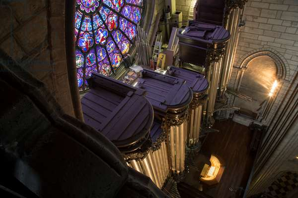 The view of the organ with the roof open after the fire, Notre Dame of Paris, Paris, France (photo)