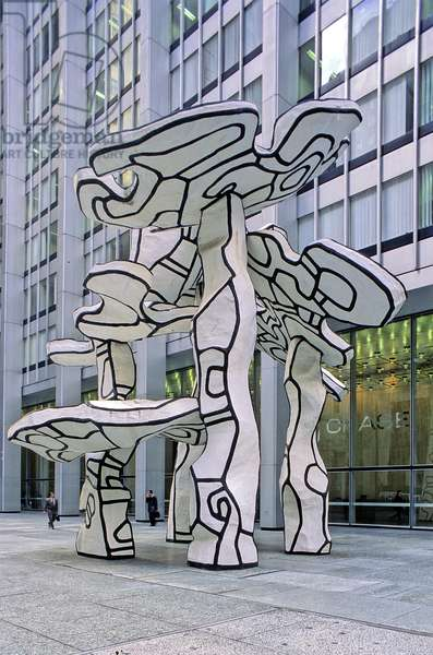 The Group of Four Trees, sculpture of 1972 by Jean Dubuffet, on the Chase Manhattan Plaza, New Yorkæ, United States. Photograph 10/04/03.