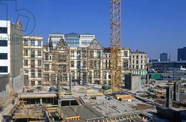 Construction site on Boulevard Leopold II in Brussels (Belgium).