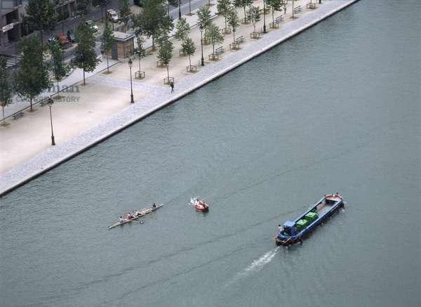 Bassin de la Villette in Paris 19th. Photography 1988.