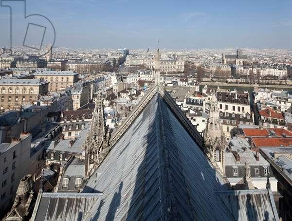 Lead roof of the cathedral Notre Dame de Paris