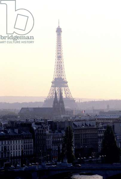 Panoramic view of the Eiffel Tower, Paris.