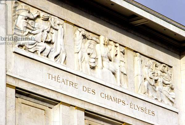 Theatre des Champs Elysees, 13-15 avenue Montaigne in Paris 75008. Architects Les Freres Auguste (1874-1954) and Gustave (1876-1952) Perret and Henry Van de Velde (1863-1957). Since its construction in 1913, this theatre was perceived as a symbol of French architectural modernity through its classical writing combined with the use of the new concrete. The marble-covered facade incorporates three high reliefs by Antoine Bourdelle (1861-1929).