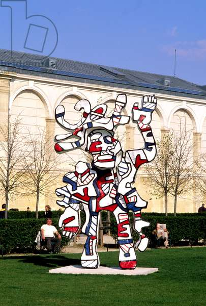 Le Bel Costume, sculpture in epoxy painted with polyurethane by Jean Dubuffet, exhibits at the Jardin des Tuileries, Paris