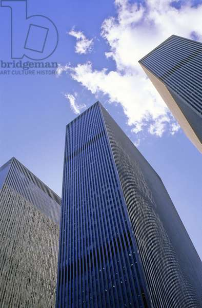 Graphic effect on towers in Manhattan New York (United States).