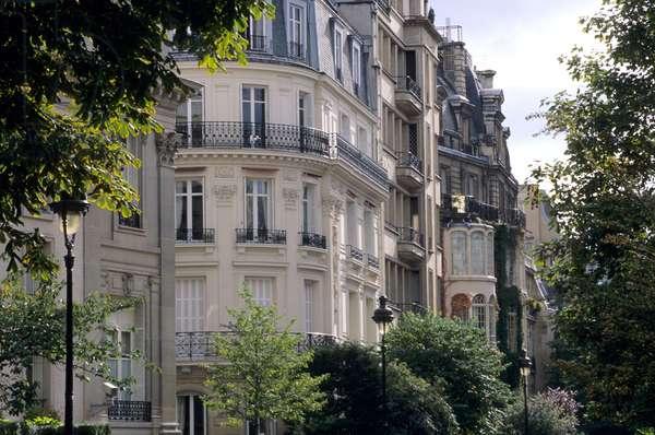 Haussmann building overlooking Parc Monceau, Paris 8th arrondissement.