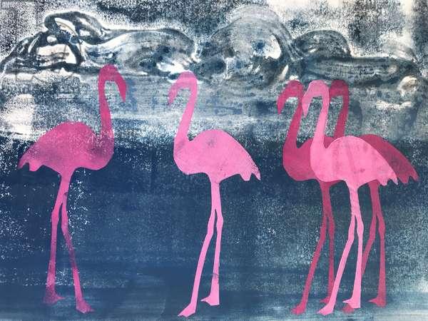 Flamingos,2019,(acrylic)