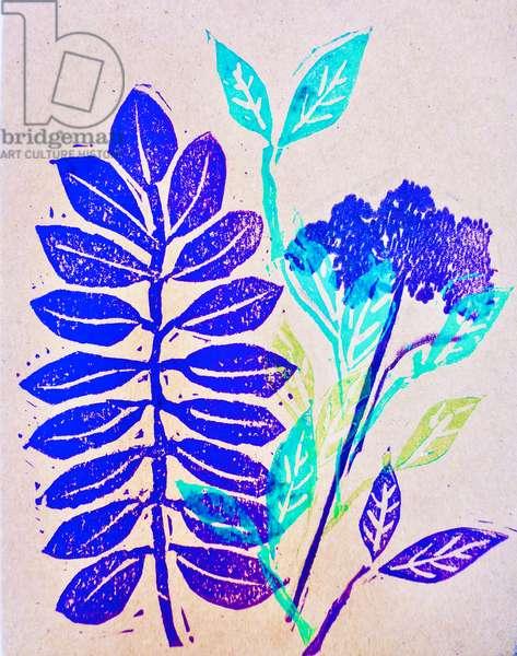 Flora (linocut) 2020