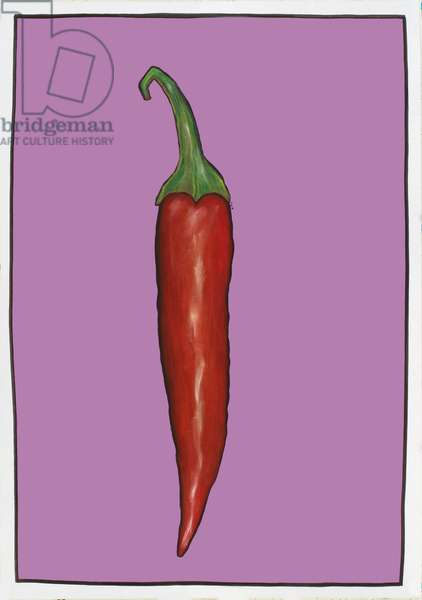Chilli pepper purple,2004 (oil sticks & pastels on paper)