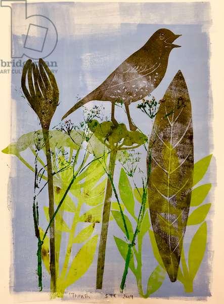 Singing bird,2020,(monoprint)