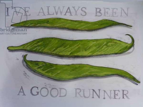 Runner Beans,2013 (monoprint on paper)