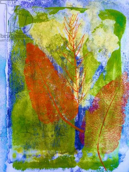 Orange leaves (monoprint on paper ) 2020