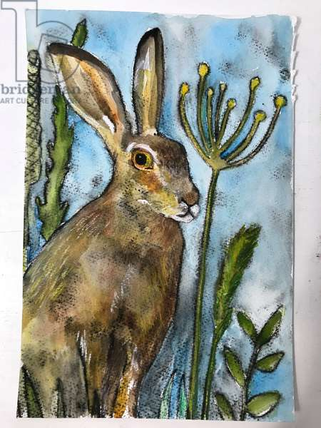 Hare with seed heads,2019 (ink,watercolour,pastel)
