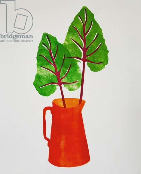 'Red jug with leaves' 2020 (monoprint)