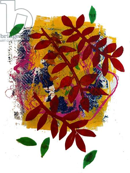 Red leaves  (monoprint on paper)