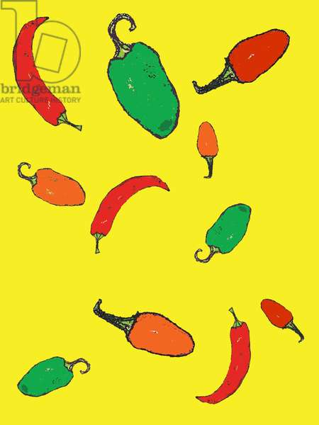 Chillies 2012 (monoprint with inks)