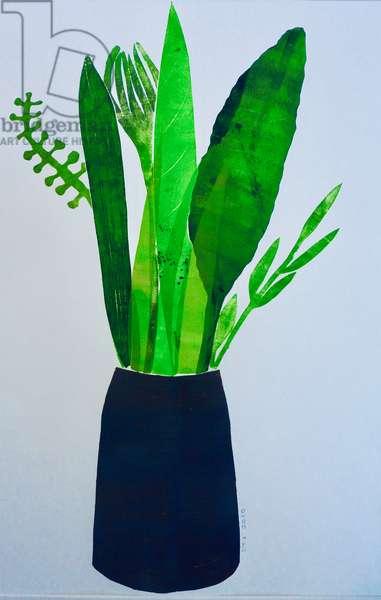 Vase of leaves (monoprint on paper) 2020