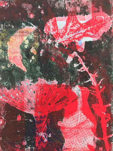 Red moon (monoprint on paper)