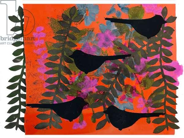 Four blackbirds  (monoprint on paper)