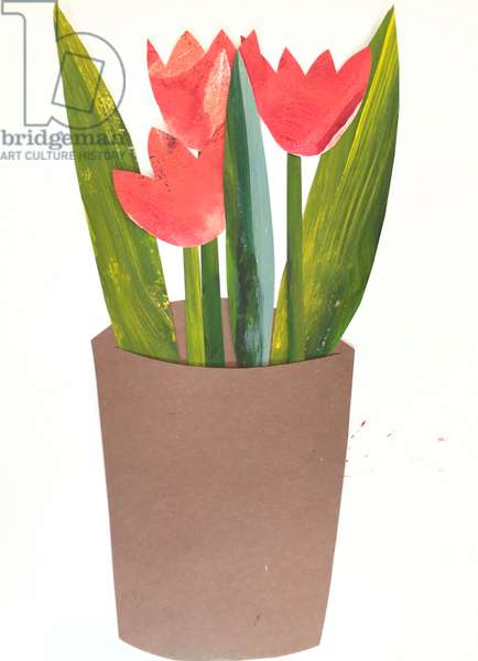 Tulips in a pot,2018 (collage)