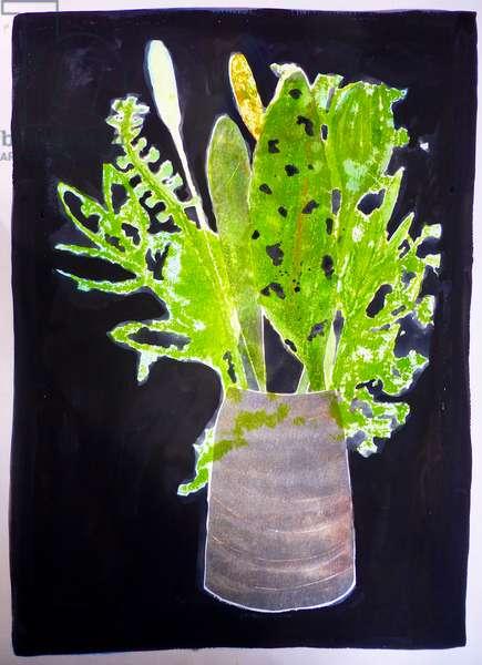 Seaweed leaves (monoprint on paper) 2020