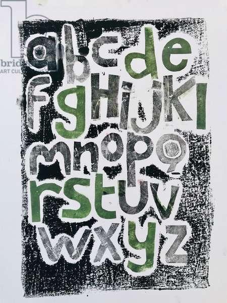 Alphabet, 2020,(monoprint)