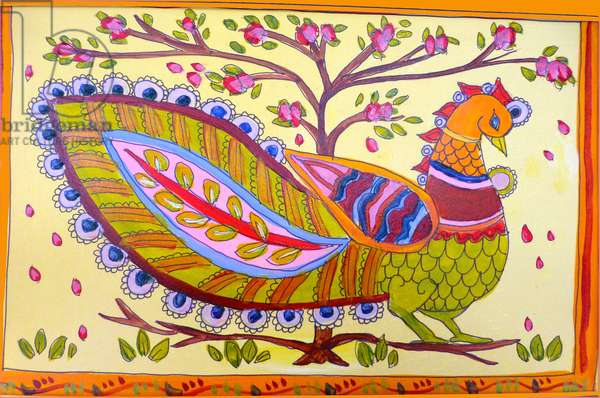 Indian peacock,2019,(watercolour)