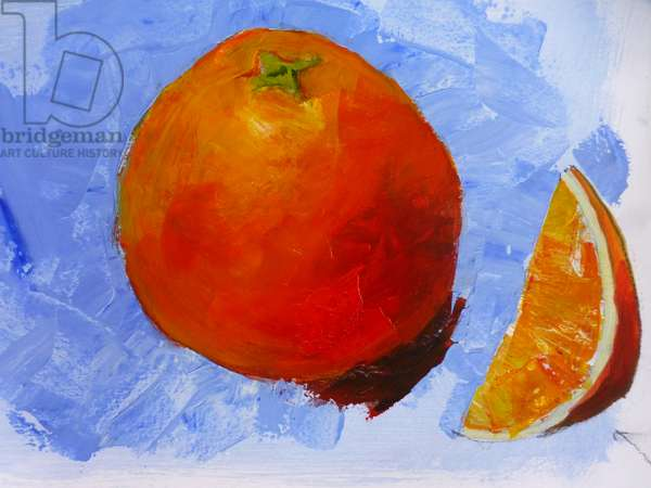 Orange and slice,  2019 ,(acrylic on paper)