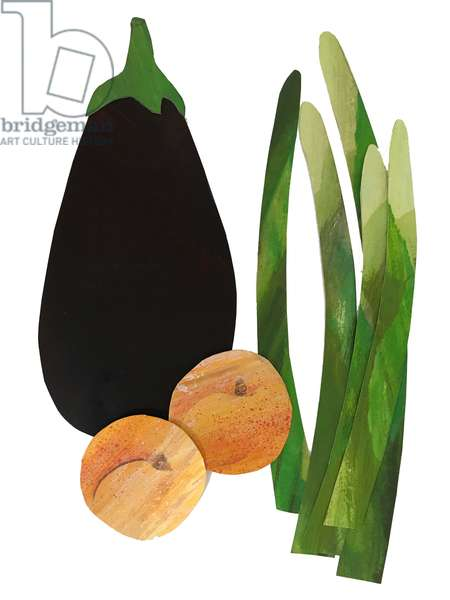 asparagus, apricots,aubergine,2019 (collage)