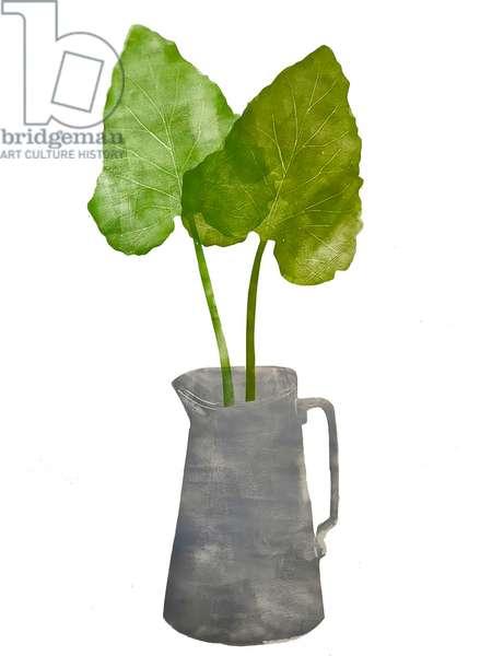 'Grey jug with leaves' 2020 (monoprint)