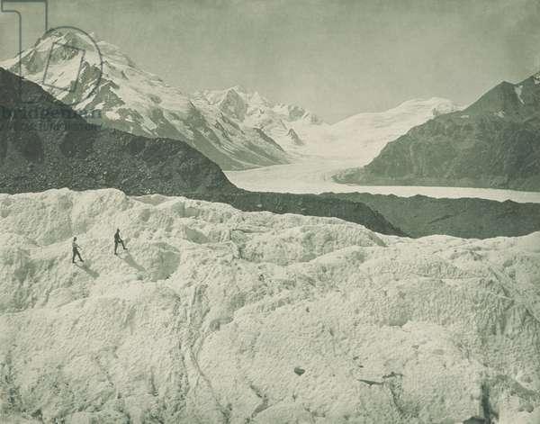 On the Tasman Glacier, New Zealand, 1920s (b/w photo)