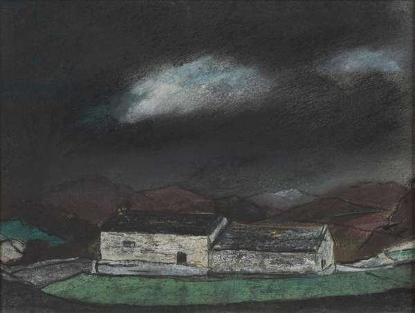 Two cottages, Wales, c.1950 (pastel on paper)