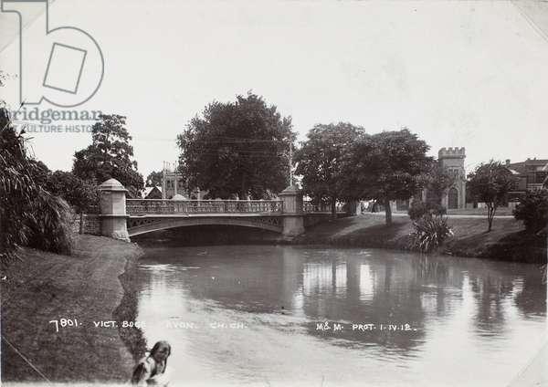 Victoria Bridge, Avon, Christchurch, 1912 (b/w photo)