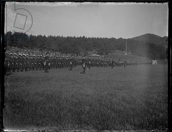 Dominion Day: Rows of Military Men, Newtown Park, Wellington, New Zealand, 26 September 1907 (b/w photo)