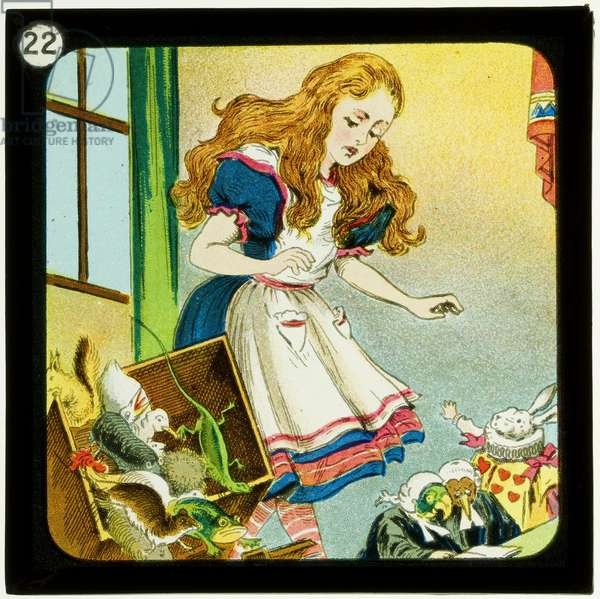 Alice in Wonderland, Part 3 - Who Stole the Tarts?, c.1900 (colour slide)