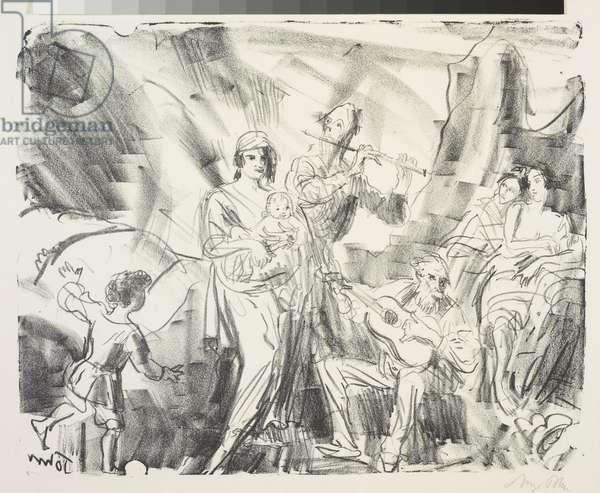 Strolling Musicians, c.1921 (litho)