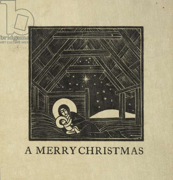 The Manger, 1916 (wood engraving)