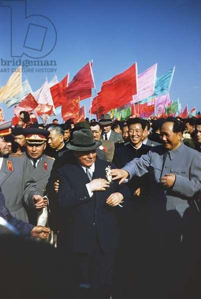 Chairman Mao with Soviet head of state Kliment Voroshilov, May Day celebrations, Peking, 1957 (photo)